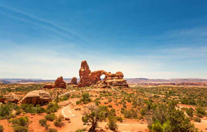 Red rocks with blue sky landscape in Arches National Park in Utah.